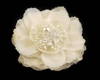Ivory fabric PIN or hair flower and Pearl