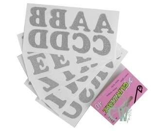 40 glitter Thermo rhinestone alphabet letters