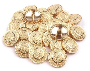 5 buttons 25 mm antique gold chiseled arabesques