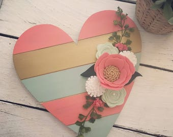 coral, mint, gold wood heart