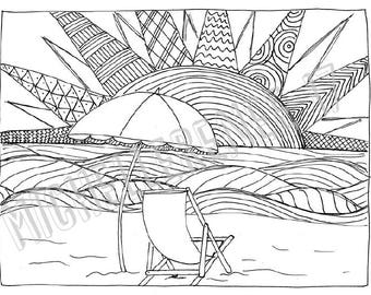 Beach Coloring Page: Digital Instant Download