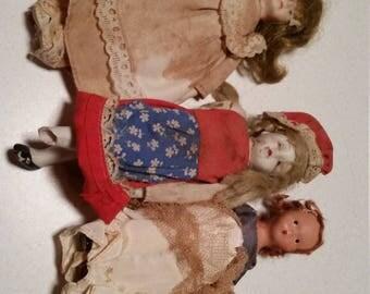 6 Vintage Dolls rough conditions