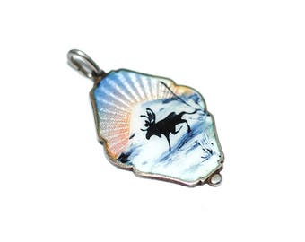 Classic Ivar T. Holth Sterling Silver Guilloche Enamel Norwegian Silhouette Charm Pendant for Necklace Bracelet, Vintage Norway Jewelry