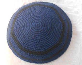 Acrylic Kippah / Striped Kippot / Vegan Yarmulke / Crocheted Kippot / Mens Yarmulke / Navy Blue Kippah