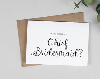 Will you be my Chief Bridesmaid? Card - A5 Wedding