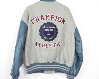 vintage CHAMPION letterman jacket - big chainstitch logo - leather + wool varsity jacket