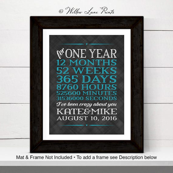 Personalized Wall Art For Couple One Year Anniversary Gift