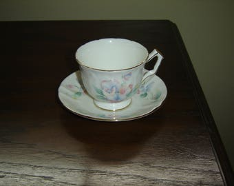 Aynsley pink blue flower embossed cup and saucer mint condition