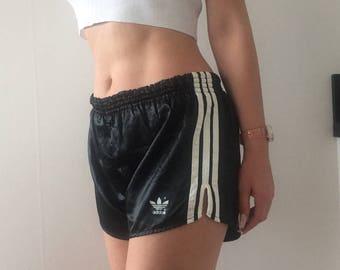 Vintage high waisted Adidas silk shorts hotpants sportswear work out wear unisex menswear streetstyle 90s 00s street urban nineties