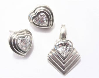 Vintage Sterling Cubic Zirconia Heart Earrings and Pendant
