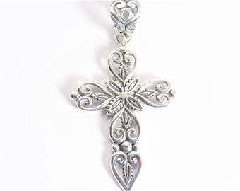 Vintage Filigree Sterling Cross Pendant