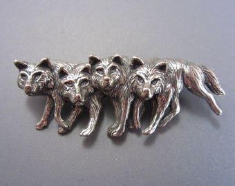 Vintage Sterling Wolf Pack Brooch SC Silver Cloud