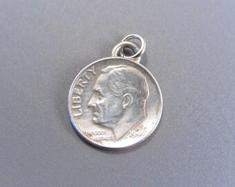 Vintage Silver 1946 Roosevelt Dime Charm