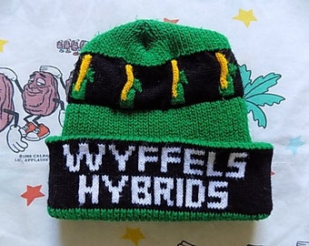 Vintage 80's Wyffels Hybrids roll up Beanie, Adult Size farming seed logo promo