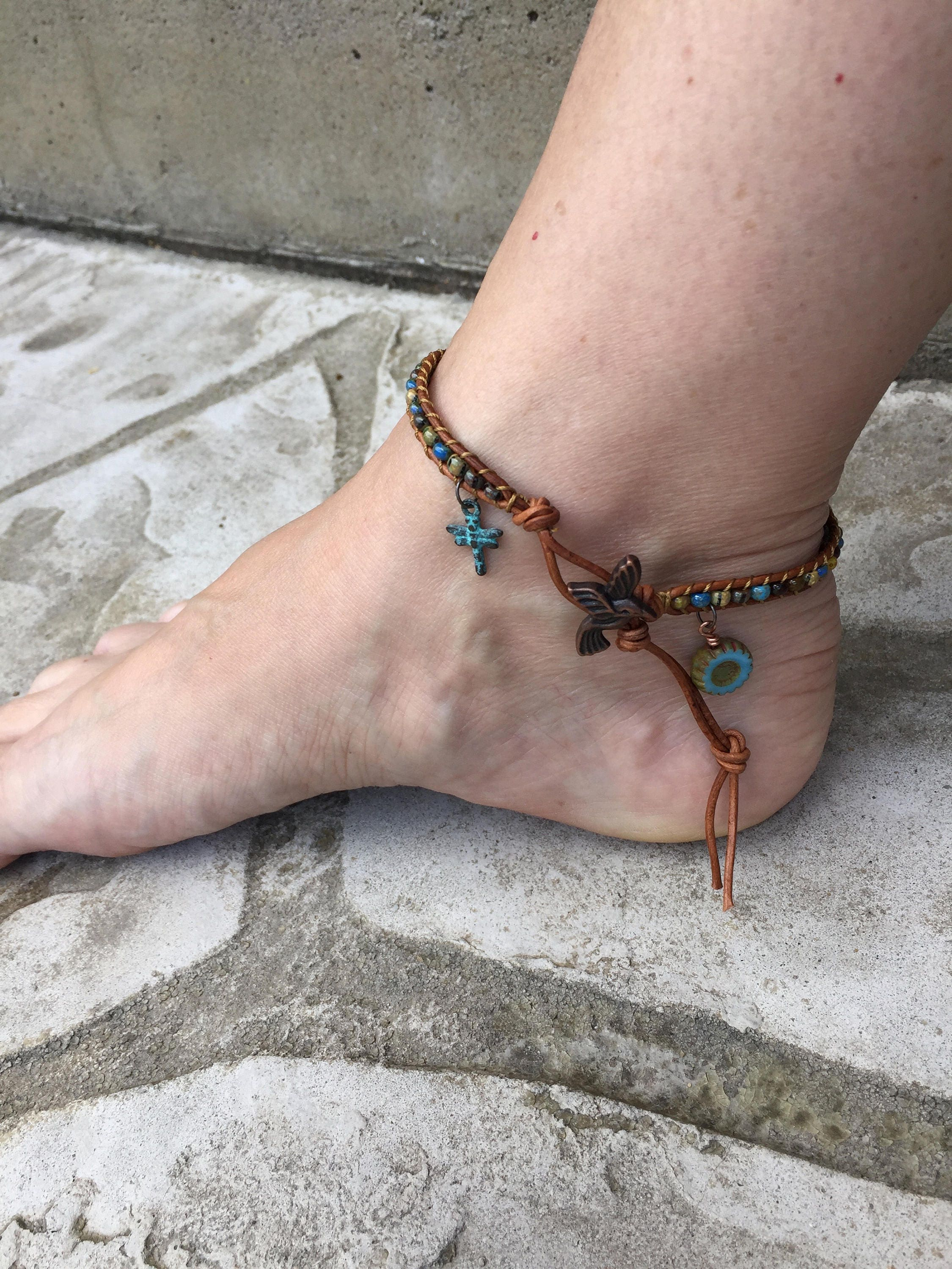 leather wrap blue bracelets c bracelet sk skinny item products with by ankle clasp double anklet dw silver braid