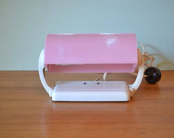 Vintage pink Bakelite clip on lamp bed lamp light lighting