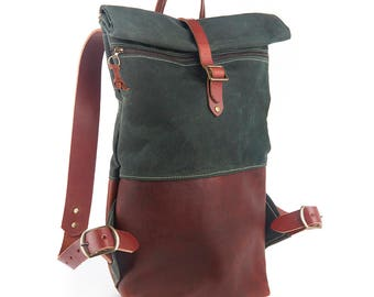 Scout Bag Canvas and Leather Backpack-Hunter Green