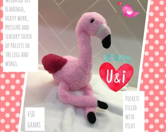 Weighted soft toy flamingo 450gms