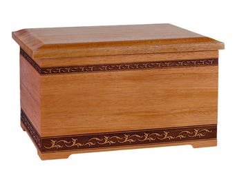 Mahogany Sculpted Wood Cremation Urn