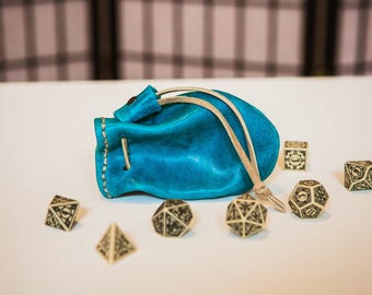 "Leather Dice Bag - ""Lapis"" ONE OF A KIND"