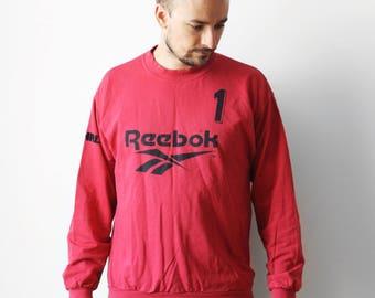 Vintage Reebok goalkeeper sweatshirt / Goalie jersey t-shirt no. 1 / Unisex sports t-shirt tee shirt / Red Black / made in Greece 90s M L