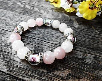 Rose Quartz Gemstone Boho Bracelet Pink White Healing Crystal Stone Yoga Bracelet Murano Glass Flower Lampwork Bead Fashion Bohemian Jewelry