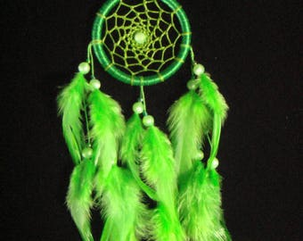 Medium Size Green Hoop Dream Catcher With Light Green Feather / Home Decor / Wall Hanging