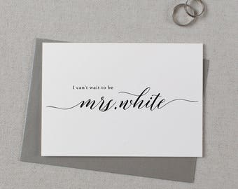 Custom I Can't Wait To Be Your Mrs., Personalised Wedding Card to Groom, I Can't Wait To Marry You Card, Custom To My Future Husband, K2