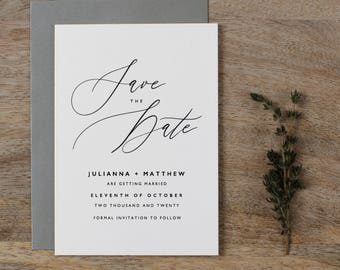 Save The Dates, Calligraphy Save The Dates, Minimal Save The Date, Modern Save The Date, Save The Date Cards, Printed Save The Dates - K6