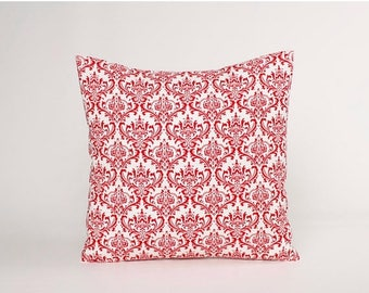 Summer Sale Red Damask Pillow Cover, Red and White Throw Pillow. Damask Accent Pillow, Decorative Pillow Cover Fits 12x16, 14, 16, 18, or 20