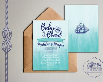 Baby on Board Invitation, Baby on Board Baby Shower Invitation, Nautical Baby Shower Invitation, Nautical Invitation