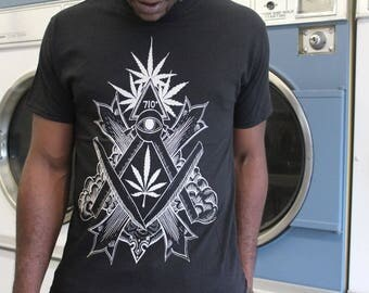 Exalted Seal of the Rollers Rite white on black tee