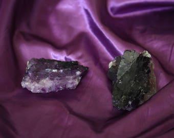 Purple fluorite specimens