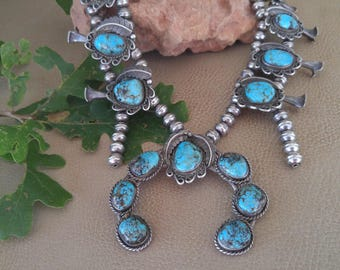 Vintage Native Indian Navajo Squash Blossom Necklace Turquoise Sterling Silver - Old Pawn Sterling Silver