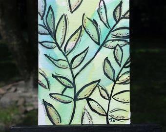 Leaf Painting, Mini Painting, Mystic Leaves, ACEO, Original Mixed Media