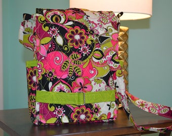 "Pink and green quilted ""Ragamuffin"" crossbody purse for iPad"