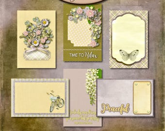 Digital Scrapbook: Inner Calm 4x6 Journaling Cards