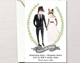 Mr. & Mrs. Fox ~ Printable Woodland Wedding Save The Date Card ~ Choice of Color Schemes