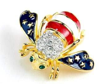 Vintage Bee Brooch Patriotic Stars and Stripes Red White Blue Rhinestone Gold Plated - Joan Rivers