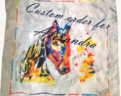 Custom order for Alexandra - Hand painted square silk scarf with a colorful horse