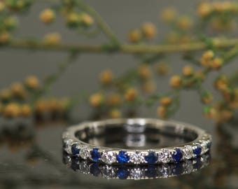 Blue Sapphire & Diamond Wedding Band in 14k White Gold, 3/4 Eternity, 1.8mm Wide, 0.62ctw, Shared Prong Setting, Adeline C