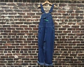"1990s Blue Denim Overalls. '90s Men's Women's Work Overalls by Key Imperial.  Over Sized, Baggy, Jean Coveralls. 36"" Large"