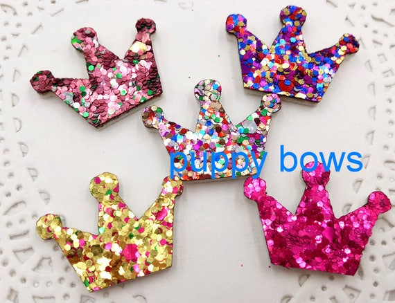 "Puppy Bows ~SUPER TINY 1"" glitter dog bow pet hair clip set of 6 bows! butterfly, crown, bowknot, flower, star, heart  ~Usa seller  (fb21)"
