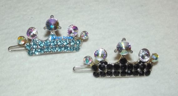 Puppy Bows ~ Rhinestone enamel black or blue dog crown hair  barrette ~ US Seller