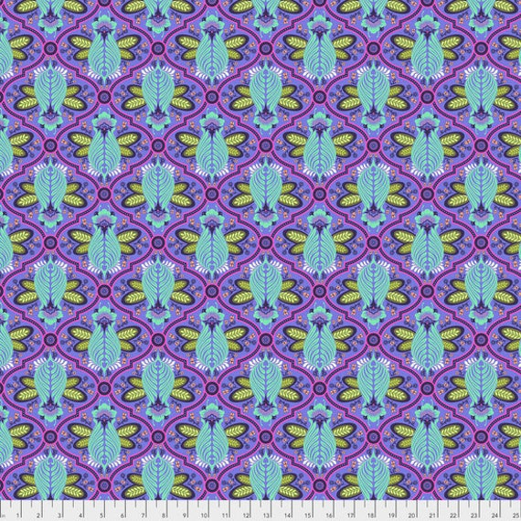 "Pre-Order FQ BEE  IRIS Purple Tula Pink  pwtp115.irisx  18"" x 22"" Multiples cut as one length"