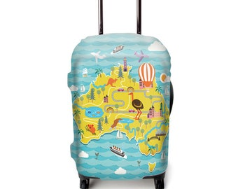 Luckiplus Island Luggage Cover Spandex Suitcase Cover Fits 18-32 Inch Luggage