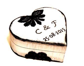 Personalized Ring Box, Couple Ring Box, Wedding Ring Box, Love Heart Box, Personalized Ring Bearer Box, Heart Ring Box, Wedding Wooden Box