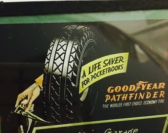 Vintage 1920's Silent Movie Era Theater Glass project Advertising Slide - Goodyear Tires-St. Clair Garage and made by Advertising Slide Co.