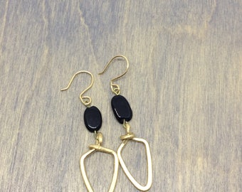 14 k gold filled and onyx earrings