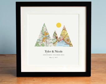 UNFRAMED Adventure Together Gift for Couple, Valentine's Day Gift, Mountain Print, Personalized Map Art, 3 Maps, Wedding Gift Art
